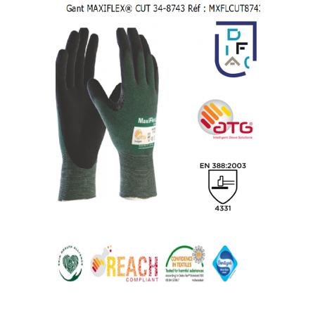 GANT MAXIFLEX CUT 34-8743 ENDUIT PAUME/DOIGT MOUSSE NITRILE MECA4331
